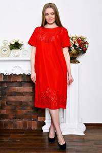 Платье длинное с принтом красное Р7258