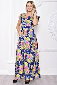 Платье длинное летнее с принтом С8387