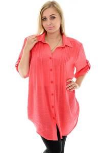 Рубашка удлиненная красная с коротким рукавом П0046