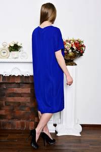 Платье длинное синее офисное Р7259