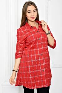 Рубашка удлиненная красная в клетку Т1800