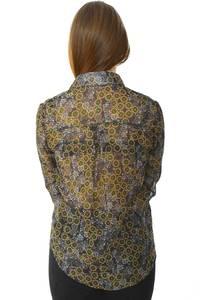 Рубашка с принтом прозрачная с длинным рукавом Н6008