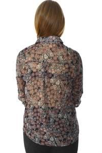 Рубашка с принтом прозрачная с длинным рукавом Н6009