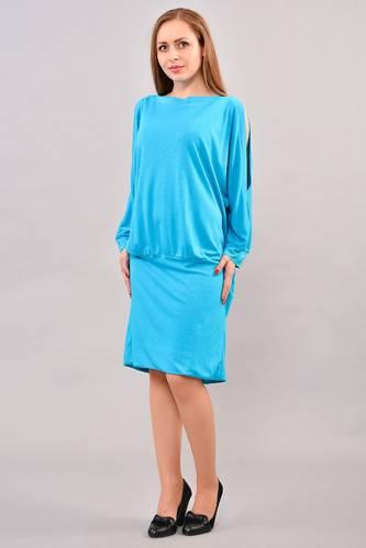 Платье короткое с длинным рукавом голубое И3262