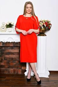 Платье длинное деловое красное Р7262