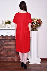 Платье длинное летнее красное Р8754