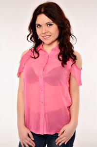 Блуза В-1016-3(р.) прозрачная с коротким рукавом