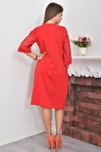 Платье короткое нарядное красное Ф0043