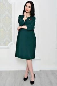 Платье короткое офисное зеленое Р1796