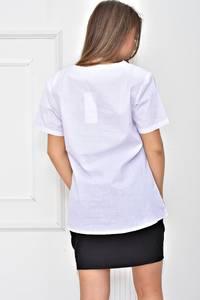 Рубашка белая с принтом У0539