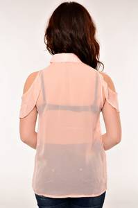 Блуза прозрачная с коротким рукавом В-1016-3(н.р.)