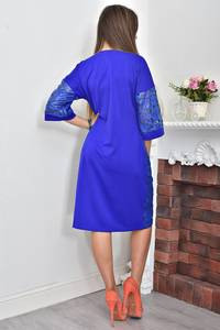 Платье короткое нарядное синее Ф0044