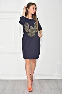 Платье короткое повседневное синее У7833