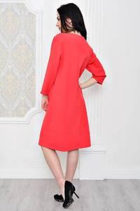 Платье короткое офисное красное Р1797