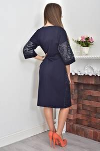 Платье короткое нарядное синее Ф0045