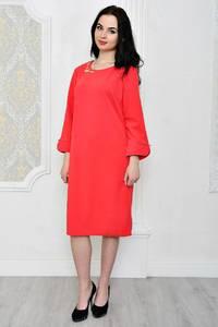 Платье короткое офисное красное Р1798