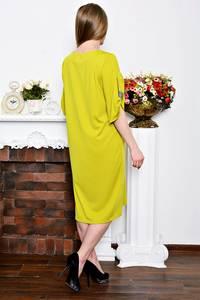 Платье длинное деловое желтое Р7266