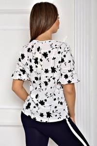 Блуза белая с цветочным принтом Т1916