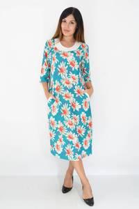 Платье длинное голубое нарядное М1495