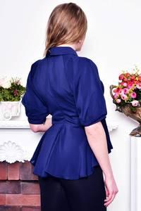 Блуза синяя прозрачная с баской Р8990