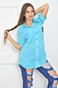 Рубашка с коротким рукавом однотонная Т5627