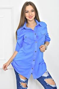 Рубашка с коротким рукавом однотонная Т5628