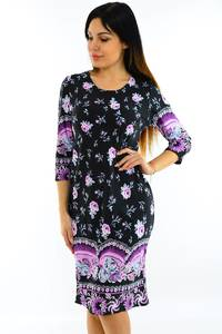 Платье короткое с принтом трикотажное М7499