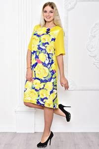 Платье длинное желтое с принтом С8397