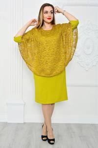 Платье длинное с кружевом желтое П9667