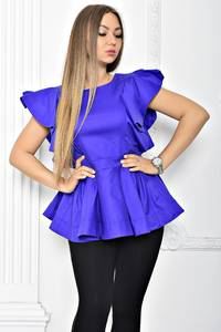 Блуза с баской синяя Т2259