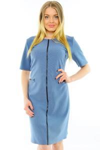 Платье короткое офисное голубое Н0178