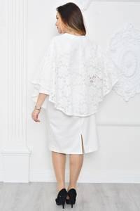 Платье длинное белое с кружевом П9670