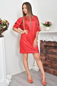 Платье короткое нарядное красное Ф0059