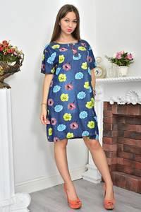 Платье-туника короткое летнее с принтом Ф0065