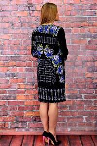 Платье длинное с принтом черное П6030