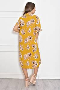 Платье длинное желтое с принтом Т6603