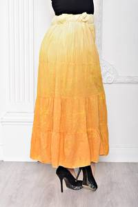 Юбка макси желтая в скрадку Т2271