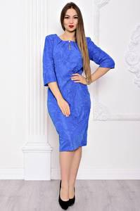 Платье длинное голубое деловое С9035