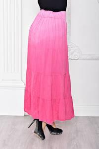 Юбка макси розовая в скрадку Т2272