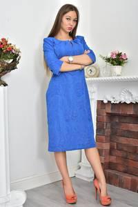 Платье длинное синее деловое Ф0070