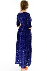Платье длинное синее нарядное П4283