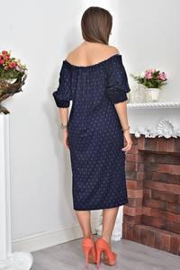 Платье длинное с открытыми плечами синее Ф0073