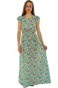 Платье длинное с принтом зеленое Н3918