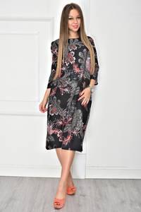 Платье длинное черное с принтом У7880