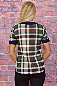 Блуза с коротким рукавом в клетку Т6187
