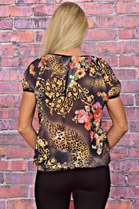 Блуза с цветочным принтом с коротким рукавом Т6189