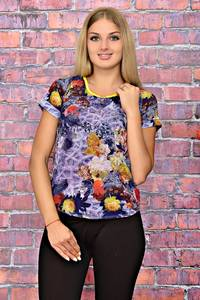 Блуза с цветочным принтом с коротким рукавом Т6190