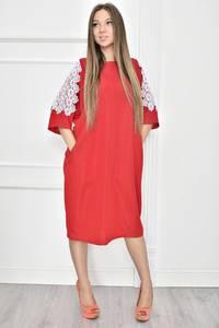 Платье короткое однотонное с кружевом Т7444
