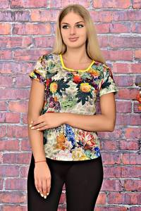 Блуза с цветочным принтом с коротким рукавом Т6191