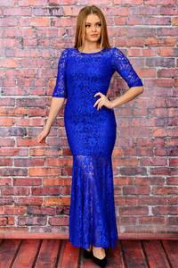 Платье длинное синее вечернее П6038